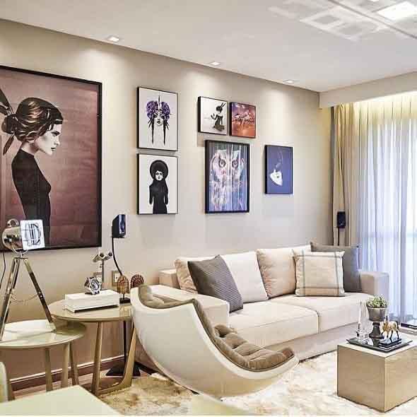 Decorar a sala de estar com quadros 007