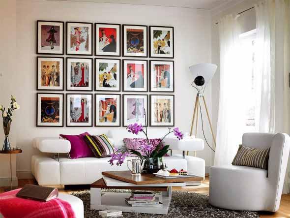 Decorar a sala de estar com quadros 008