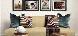 Decorar a sala de estar com quadros diversos