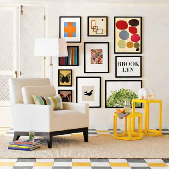 Decorar a sala de estar com quadros 013