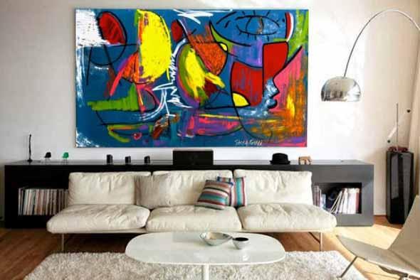 Decorar a sala de estar com quadros 014