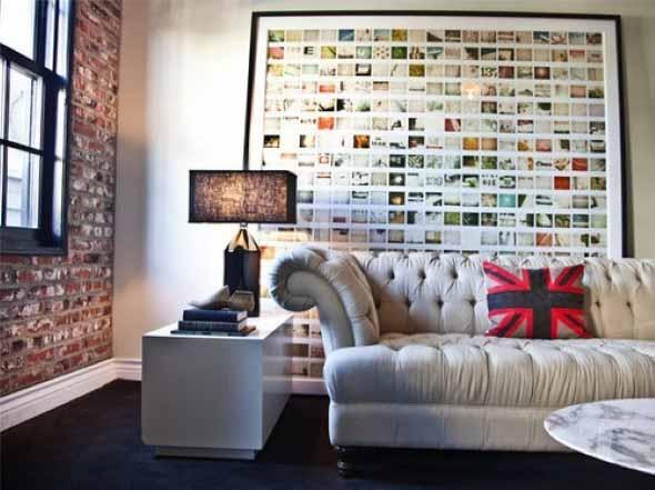 Decorar a sala de estar com quadros 015