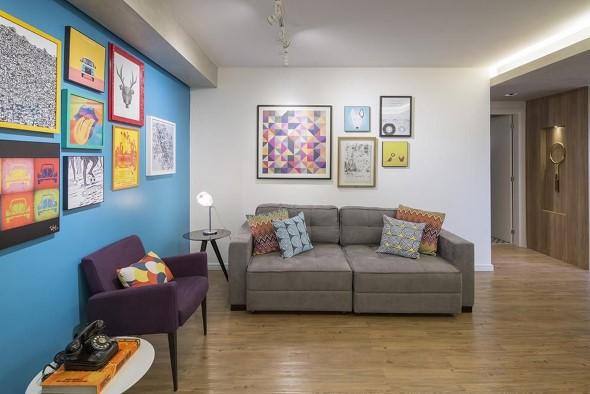 Decorar a sala de estar com quadros 016