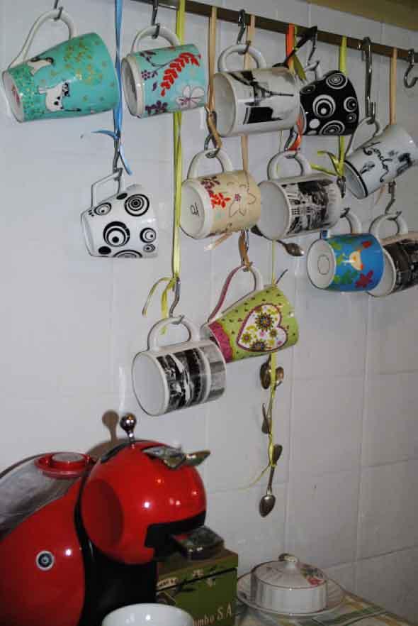 Maneiras criativas para pendurar canecas 017