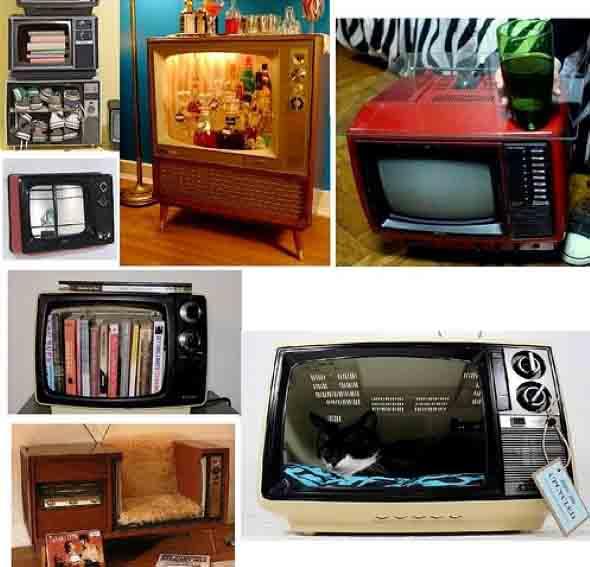 Transforme sua televisão antiga em objeto de decoração.