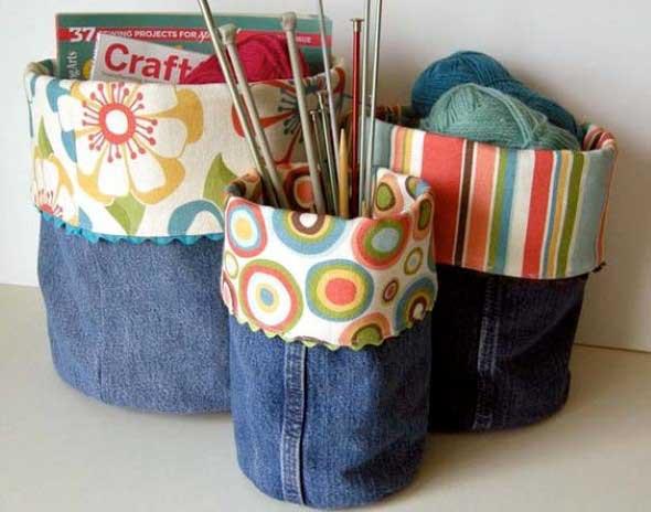 Ideias para reaproveitar jeans usado na decoração 002