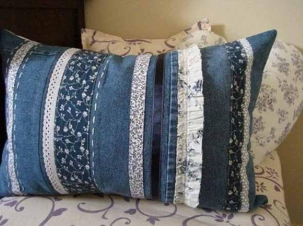 Ideias para reaproveitar jeans usado na decoração 003