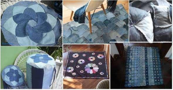 Ideias para reaproveitar jeans usado na decoração 005