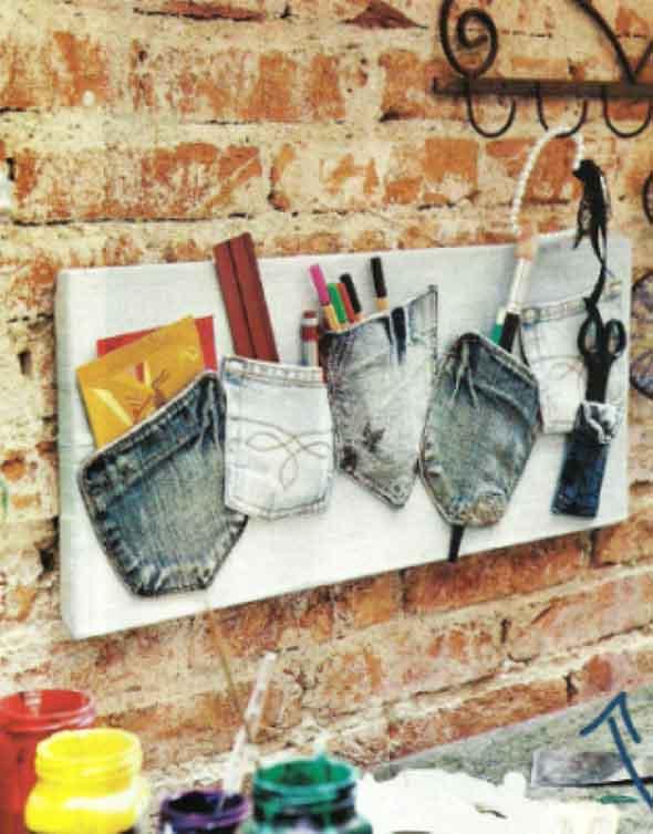 Ideias para reaproveitar jeans usado na decoração 008