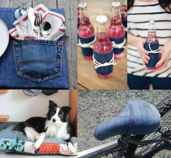 Ideias para reaproveitar jeans usado na decoração 009