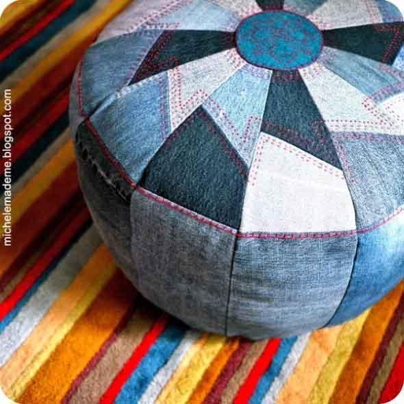 Ideias para reaproveitar jeans usado na decoração 014