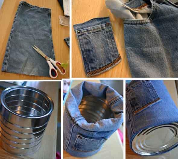 Ideias para reaproveitar jeans usado na decoração 015
