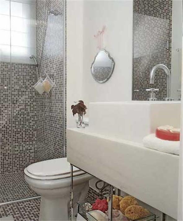 Decorar o banheiro com pastilhas  18 modelos diferentes -> Banheiro Decorado Com Pastilhas Lilas