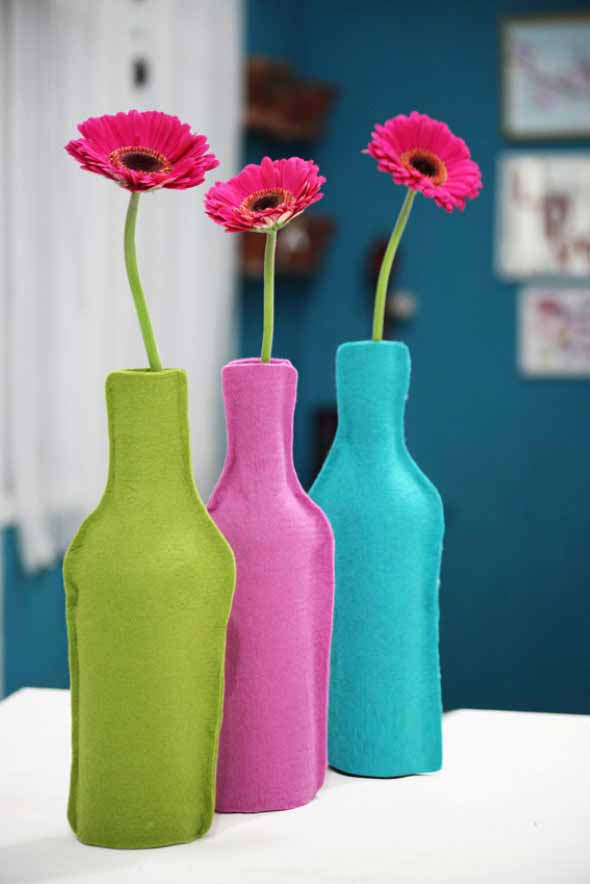 decoração com garrafas de vidro 001