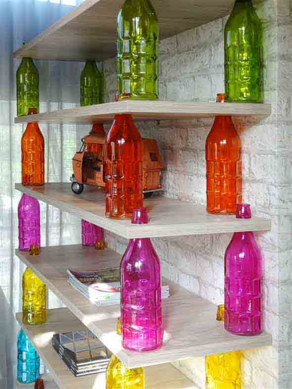 decoração com garrafas de vidro 008