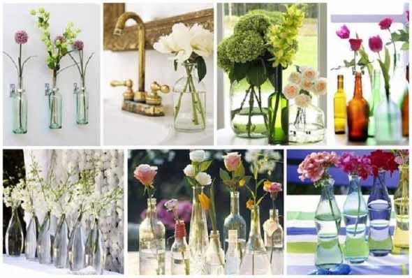 decoração com garrafas de vidro 011