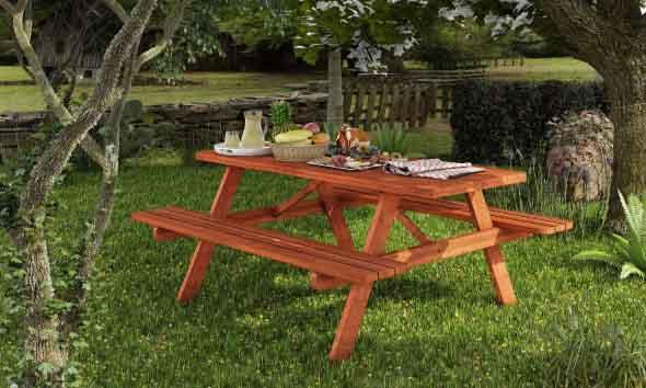 Mesa de madeira para jardins 002