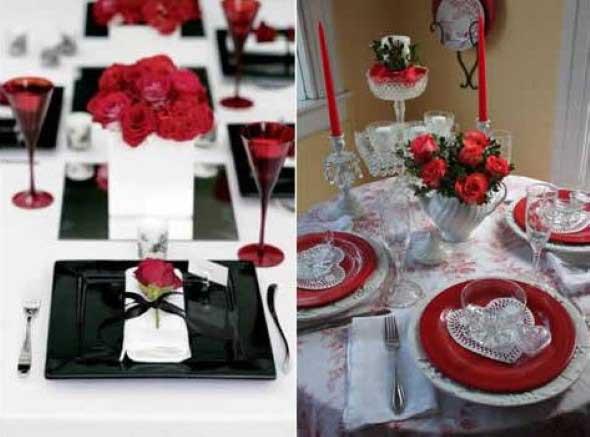 Decorando uma mesa de jantar romântica 001