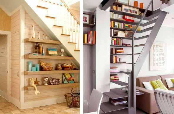 Prateleiras criativas debaixo da escada 004