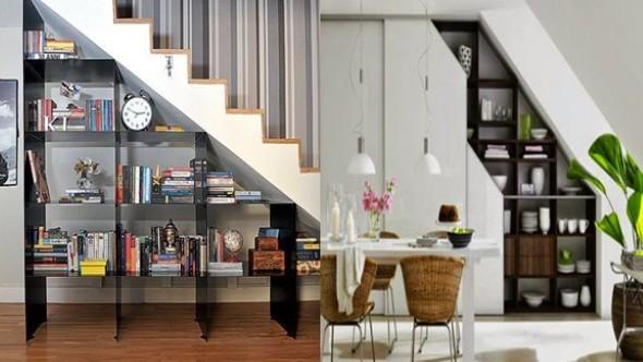 Prateleiras criativas debaixo da escada 006
