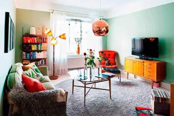 Sala de estar com decoração vintage 003