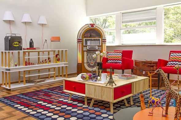 Sala de estar com decoração vintage 004