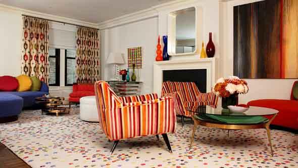 Sala de estar com decoração vintage 006