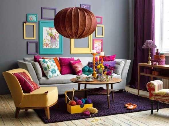 Sala de estar com decoração vintage 007