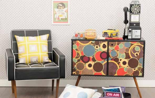 Sala de estar com decoração vintage 008