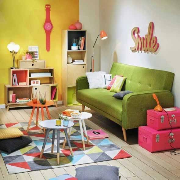 Sala de estar com decoração vintage 009
