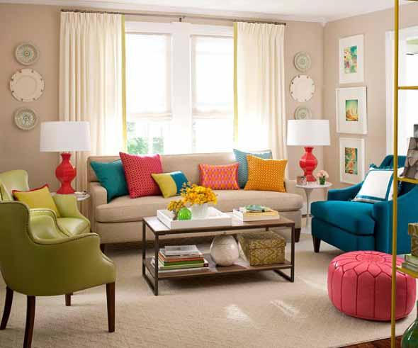Sala de estar com decoração vintage 010
