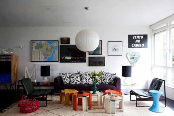 Sala de estar com decoração vintage 011