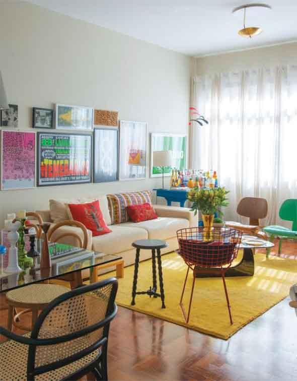 Sala de estar com decoração vintage 012