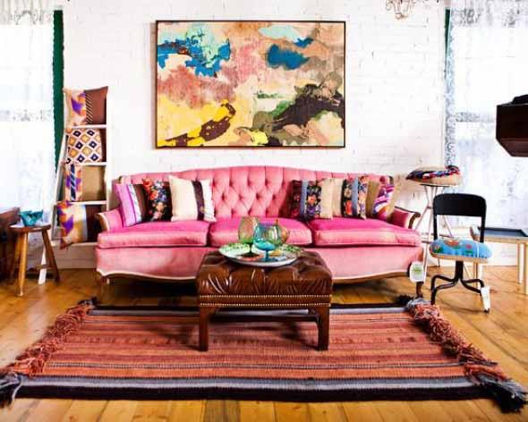 Sala de estar com decoração vintage 013