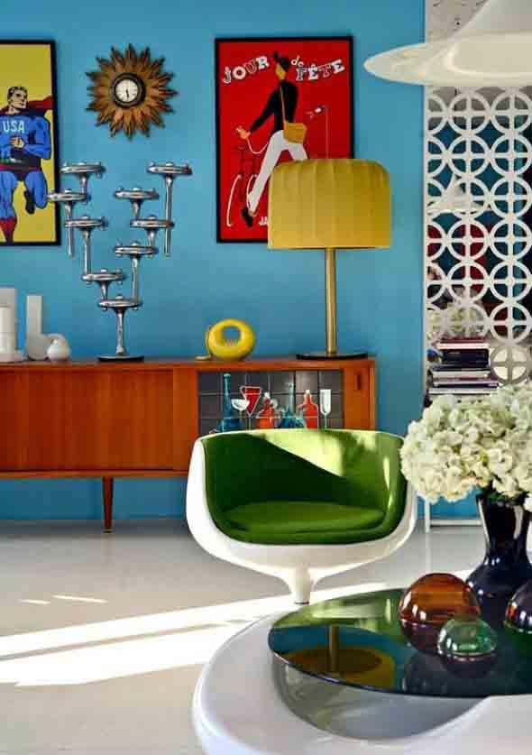 Sala de estar com decoração vintage 014