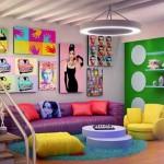 Sala de estar com decoração vintage 015