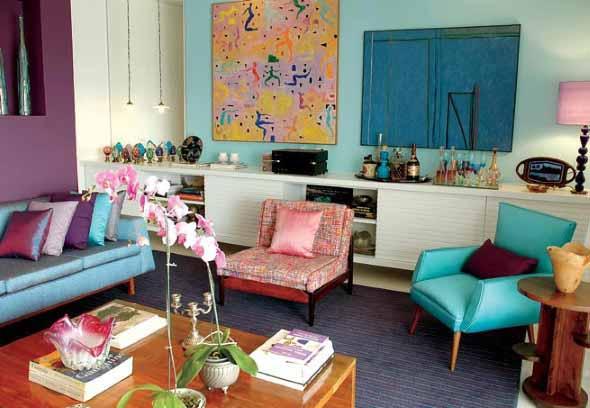 Sala de estar com decoração vintage 017
