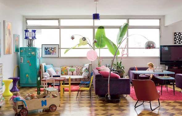 Sala de estar com decoração vintage 018