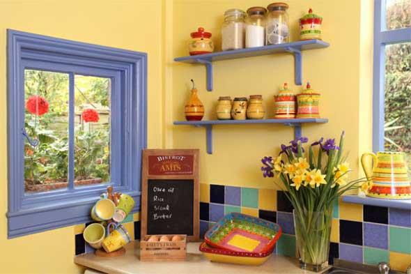 Colorido na decoração da cozinha 004