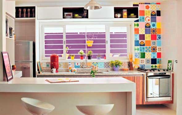 Colorido na decoração da cozinha 005