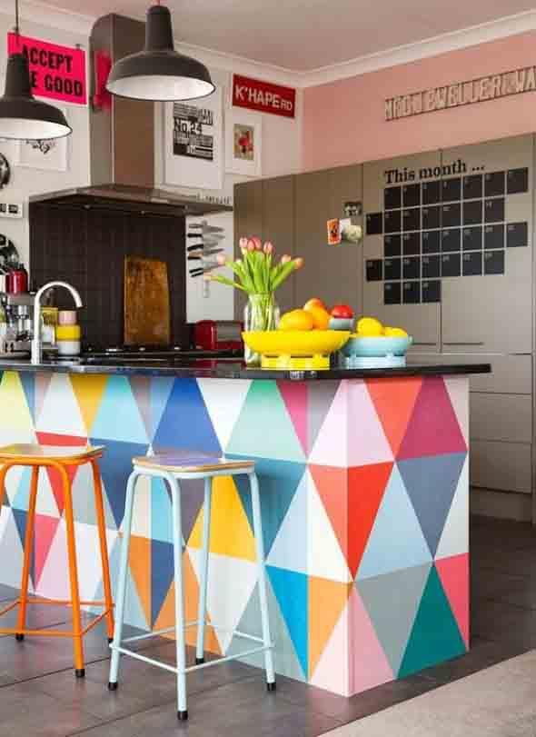 Colorido na decoração da cozinha 006