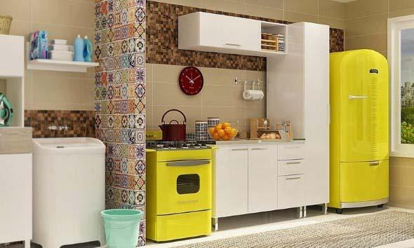 Colorido na decoração da cozinha 011