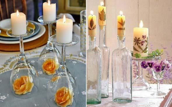 Velas e taças para decorar mesa de jantar 002
