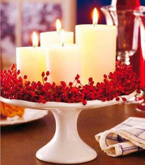 Velas e taças para decorar mesa de jantar 006