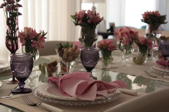 Velas e taças para decorar mesa de jantar 013