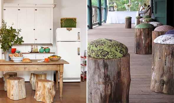 Troncos de árvore na decoração 004