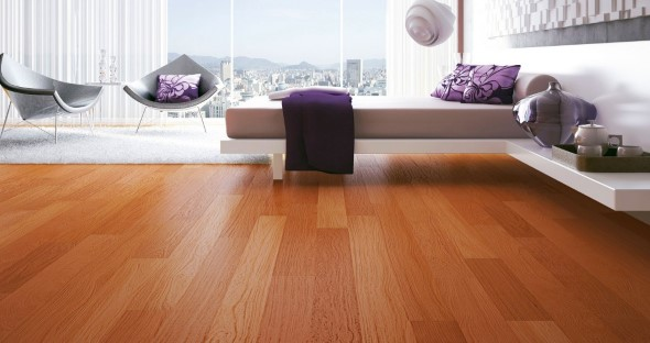 Quarto com piso de madeira 009