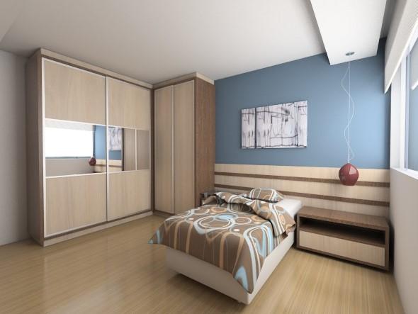 Quarto com piso de madeira 016