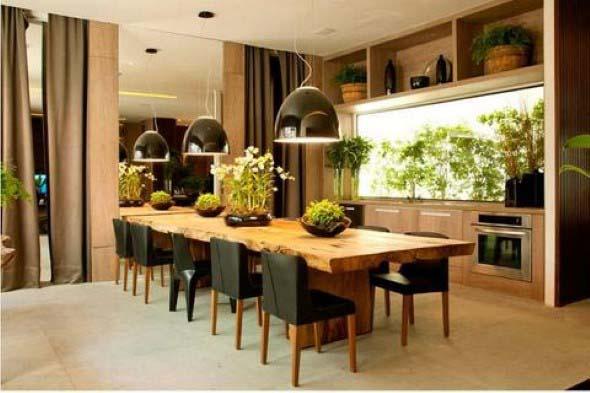 Mesa rústica na decoração da sala de jantar 002