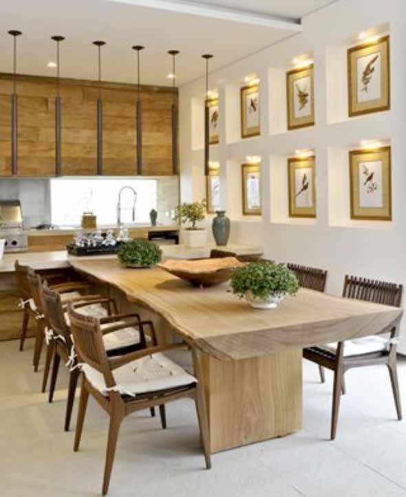 Mesa rústica na decoração da sala de jantar 011